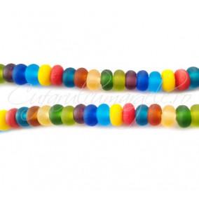 Margele sticla sablata mix culori rondele 8x5 mm (10buc)