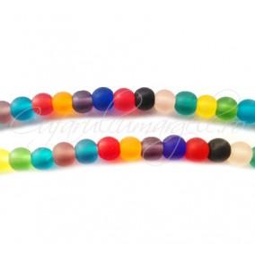 Margele sticla sablata mix culori sfere 6 mm (10buc)