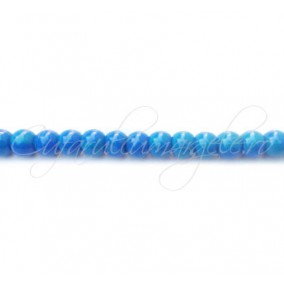 Margele sticla sirag albastru 6 mm