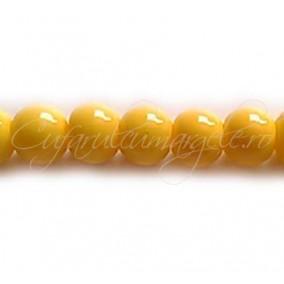 Margele sticla sirag galben 10 mm