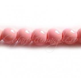 Margele sticla sirag roz 10 mm