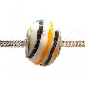 Margele tip Pandora alb mat spirala negru oranj 14 mm