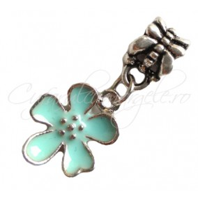 Margele tip Pandora charm floare bleu 27x13mm