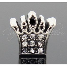 Margele tip Pandora coroana rhinestone alb 12x12x8 mm