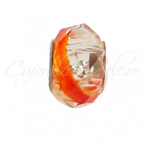 Margele tip Pandora cristal bicolor oranj alb 14 mm