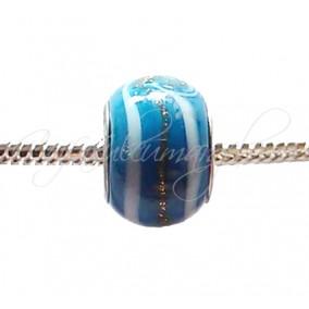 Margele tip Pandora foita aurie bleu opac 14 mm