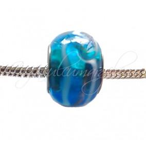 Margele tip Pandora foita aurie bleu transparent 14 mm