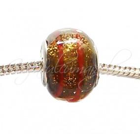 Margele tip Pandora foita aurie maro 14 mm