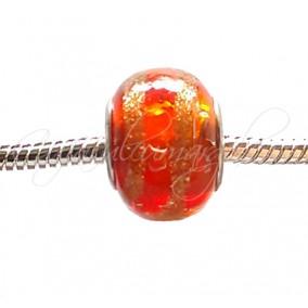 Margele tip Pandora foita aurie rosu oranj transparent 14 mm