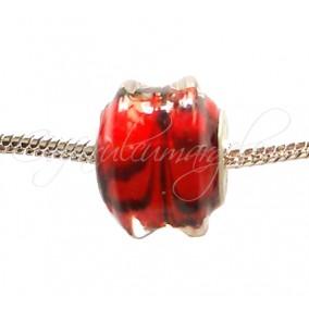Margele tip Pandora sticla rosu 15 mm