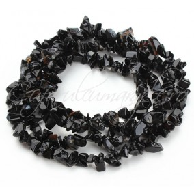 Obsidian negru chips 5-8mm sirag 90cm