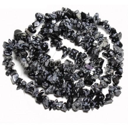 Obsidian snowflake chips 5-8mm sirag 90cm