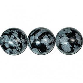 Obsidian snowflake sferic nefatetat 14 mm