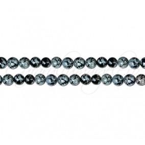 Obsidian snowflake sferic nefatetat 4 mm