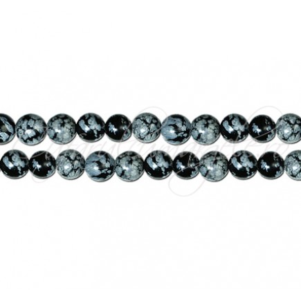 Obsidian snowflake sferic nefatetat 6 mm