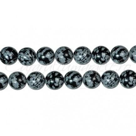 Obsidian snowflake sferic nefatetat 8 mm