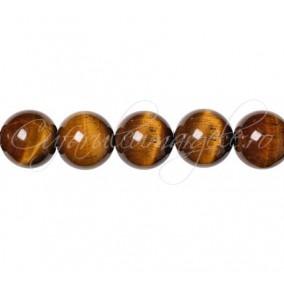 Ochi de tigru maro sferic lucios 10 mm