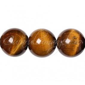 Ochi de tigru maro sferic lucios 14 mm