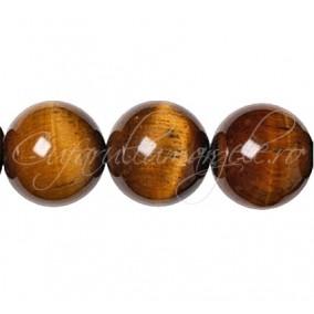 Ochi de tigru maro sferic lucios 16 mm