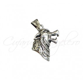 Pandantiv argint tibetan cap de lup 35x20x10mm