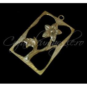 Charm auriu cadru floare 34x22mm