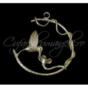 Charm auriu cerc colibri 30mm
