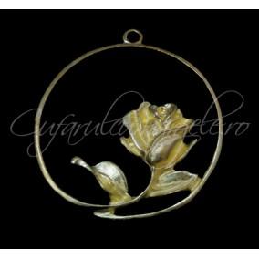 Charm auriu cerc trandafir 30mm