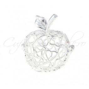 Pandantiv bola alb argintiu mar inimi 32x27mm