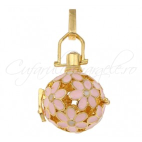 Pandantiv bola galben auriu flori roz 42x25mm