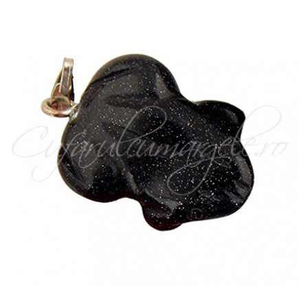 Pandantiv broasca blue goldstone 22x15mm