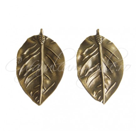 Pandantiv bronz frunza 52x32mm