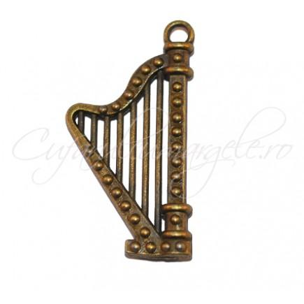 Charm bronz harpa 40x20 mm