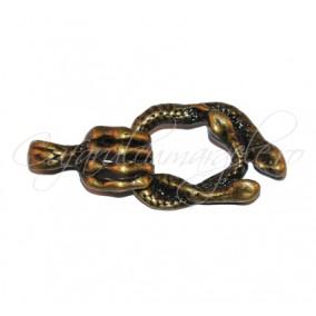 Pandantiv bronz mana schelet cu sarpe 45x20 mm