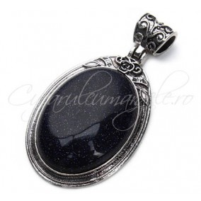 Pandantiv cabochon oval blue goldstone 38x67mm