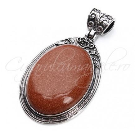 Pandantiv cabochon oval brown goldstone 38x67mm