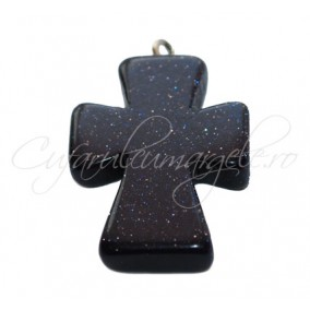 Pandantiv cruce blue goldstone 25x20x5mm