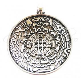 Pandantiv diagrama astrologica tibetana argintie 25x20mm