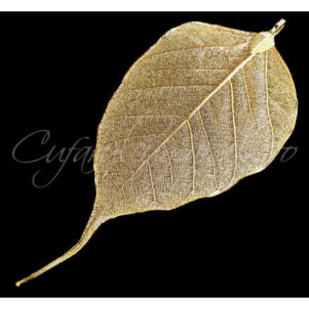 Pandantiv frunza aurie limb ascutit 11x5cm