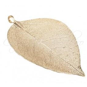 Pandantiv frunza filigranata auriu roscat 65x35mm