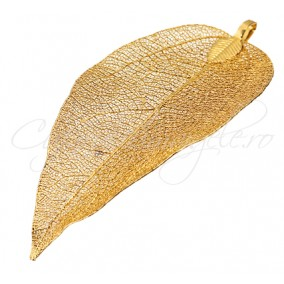 Pandantiv frunza filigranata galben auriu 65x35mm