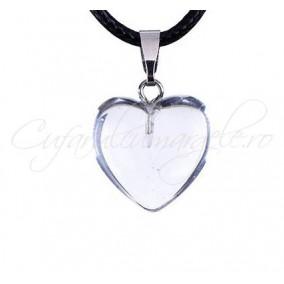 Pandantiv inima cuart alb 20mm