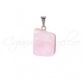 Pandantiv neregulat cuart roz 20mm