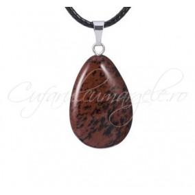 Pandantiv picatura obsidian mahon 27x17mm