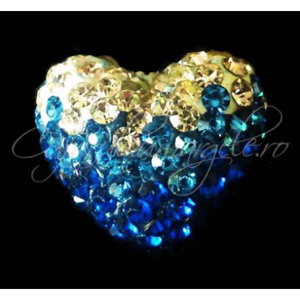 Pandantiv shamballa inima alb albastru 15x13x9mm
