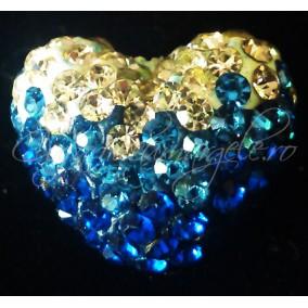Pandantiv shamballa inima alb albastru 20x16x12mm