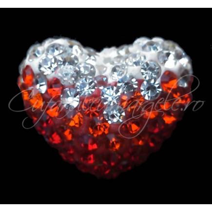 Pandantiv shamballa inima alb oranj rosu 20x16x12mm