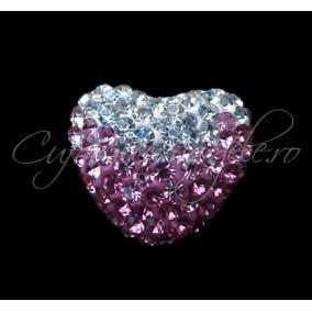 Pandantiv shamballa inima alb roz 15x13x9mm