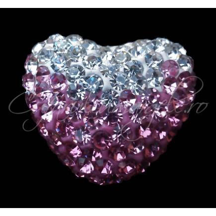 Pandantiv shamballa inima alb roz 20x16x12mm