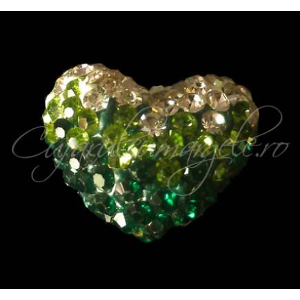 Pandantiv shamballa inima alb verde 15x13x9mm