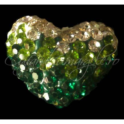 Pandantiv shamballa inima alb verde 20x16x12mm